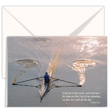 greetings card Lead me in thy truth, and teach me: for thou art the God of my salvation; on thee do I wait all the day. rower reflections