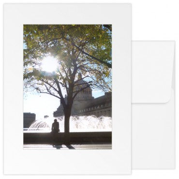 blank greetings card The Mother Church fountain sunny day