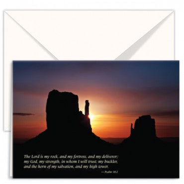 Greetings Card Christian Science Desert Sunset Monument The Lord is my rock, and my fortress, and my deliverer; my God, my strength, in whom I will trust; my buckler and the horn of my salvation, and my high tower