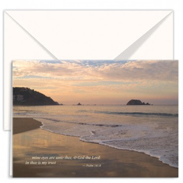 greetings card the beach mine eyes are unto thee O God the Lord: in thee is my trust;