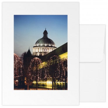 greetings card christian science plaza with lit trees