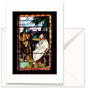 greetings card: the Mother Church stain glass window Original Church Jesus with Samaritan Woman