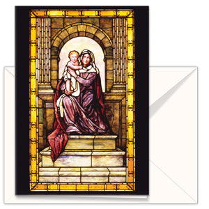 greetings card Mary the Mother of Jesus - Stained Glass the mother church