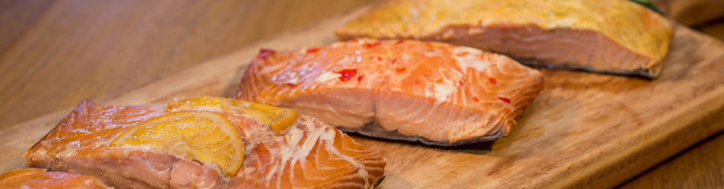 Hot-smoked salmon portions - 6 flavour pack (1.2kg) £32 excl. delivery