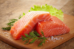 Fresh Salmon fillet portion ( 180 - 200g ) vacuum packed