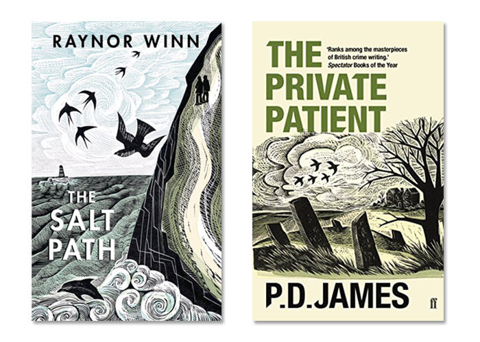 Angela Harding book covers for P.D James The Private Patient and Salt Path by Raynor Winn