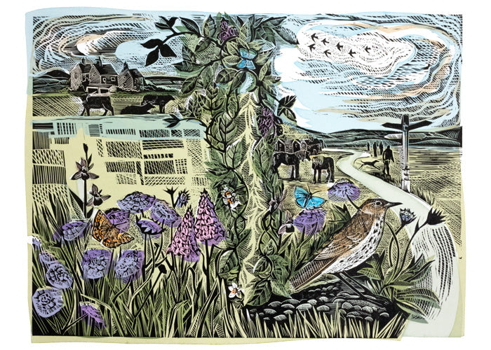 Angela Harding The Common linocut print