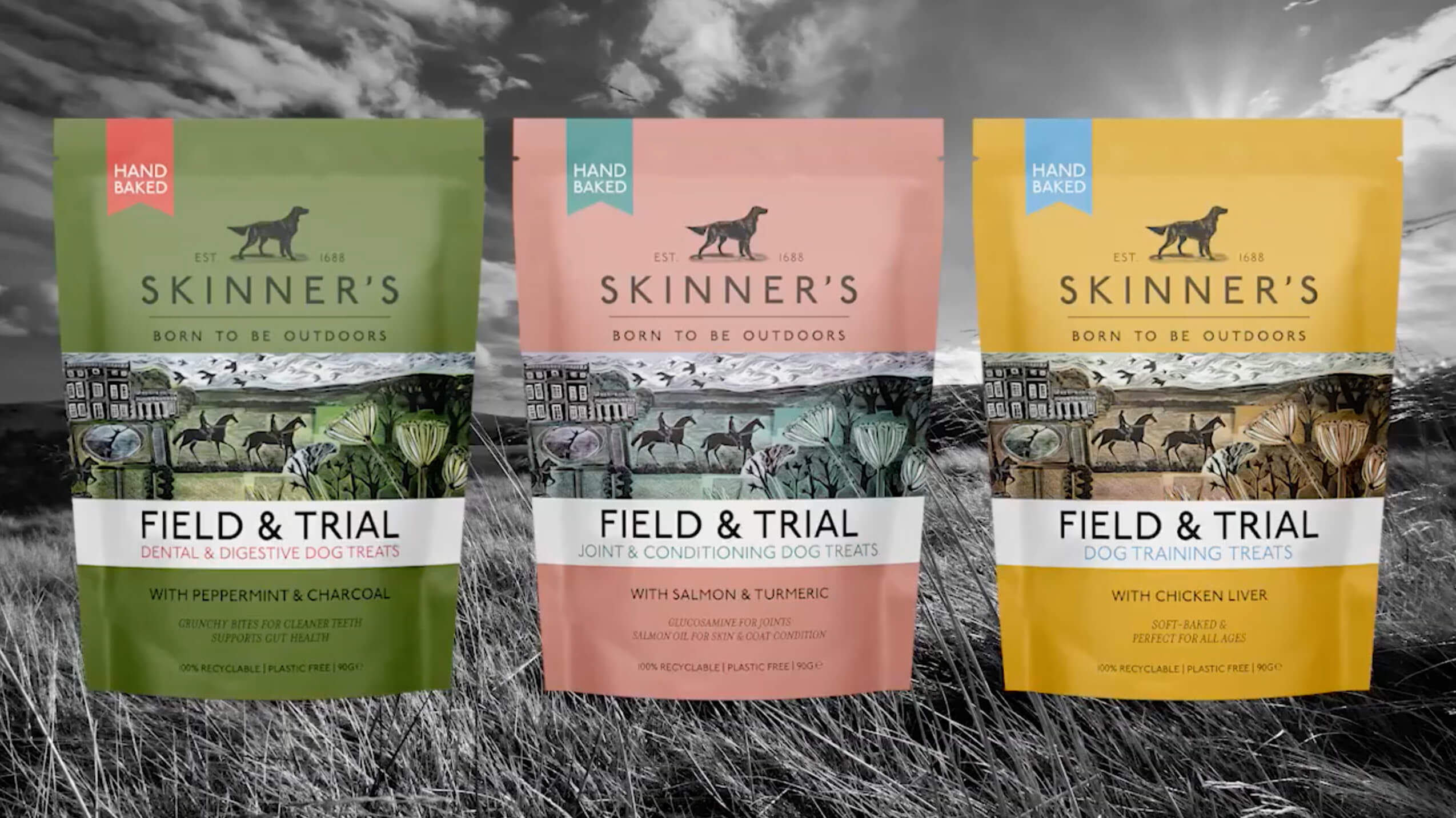 New Skinners dog food packaging illustrated by Angela Harding