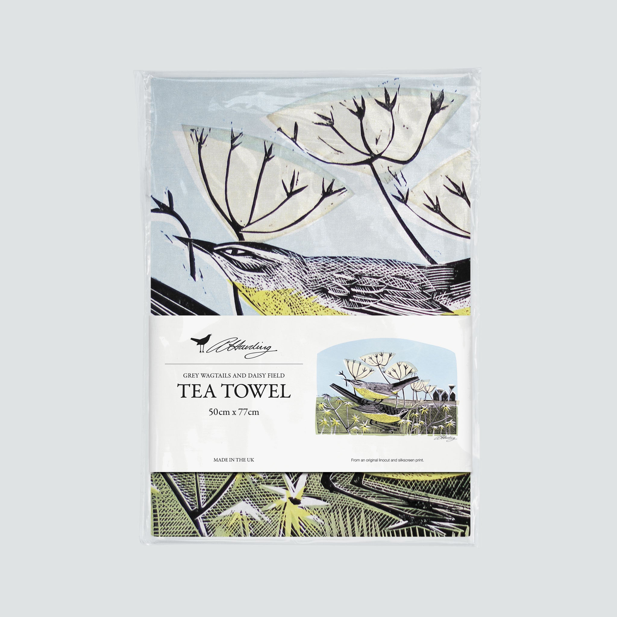 Wagtails and Daisy Field Tea Towel - Angela Harding