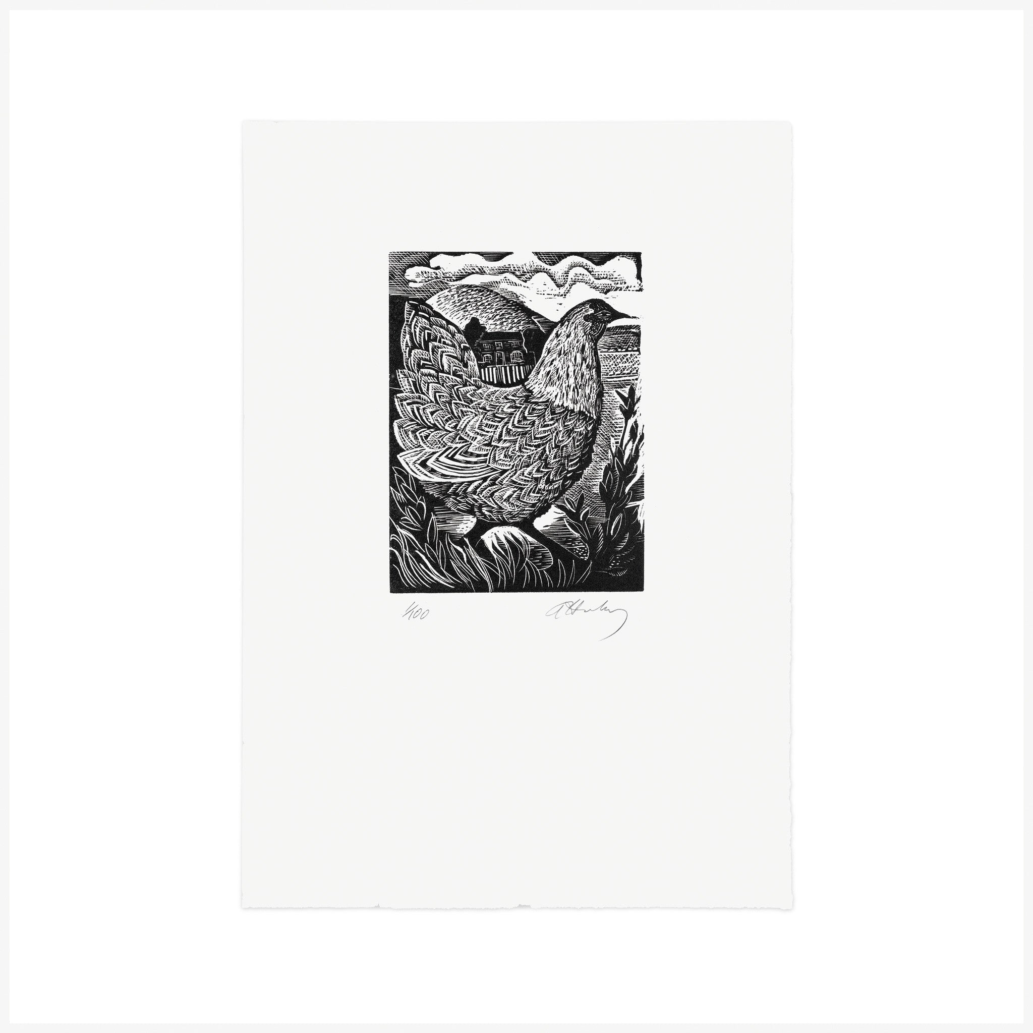 C is for Chicken, Wood Engraving by Angela Harding