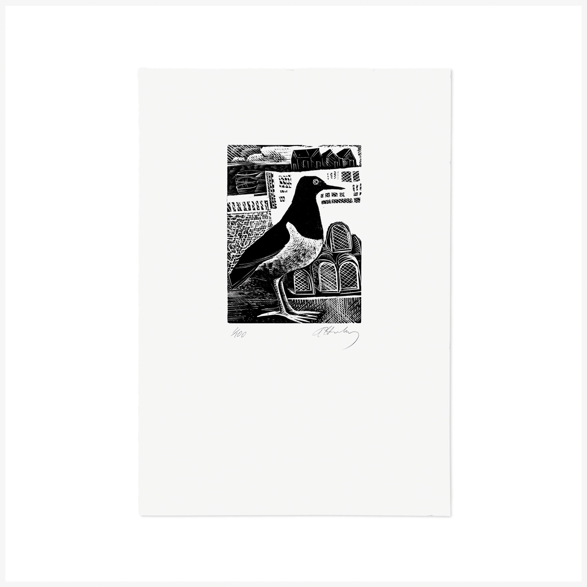 O is for oystercatchers, Wood Engraving by Angela Harding