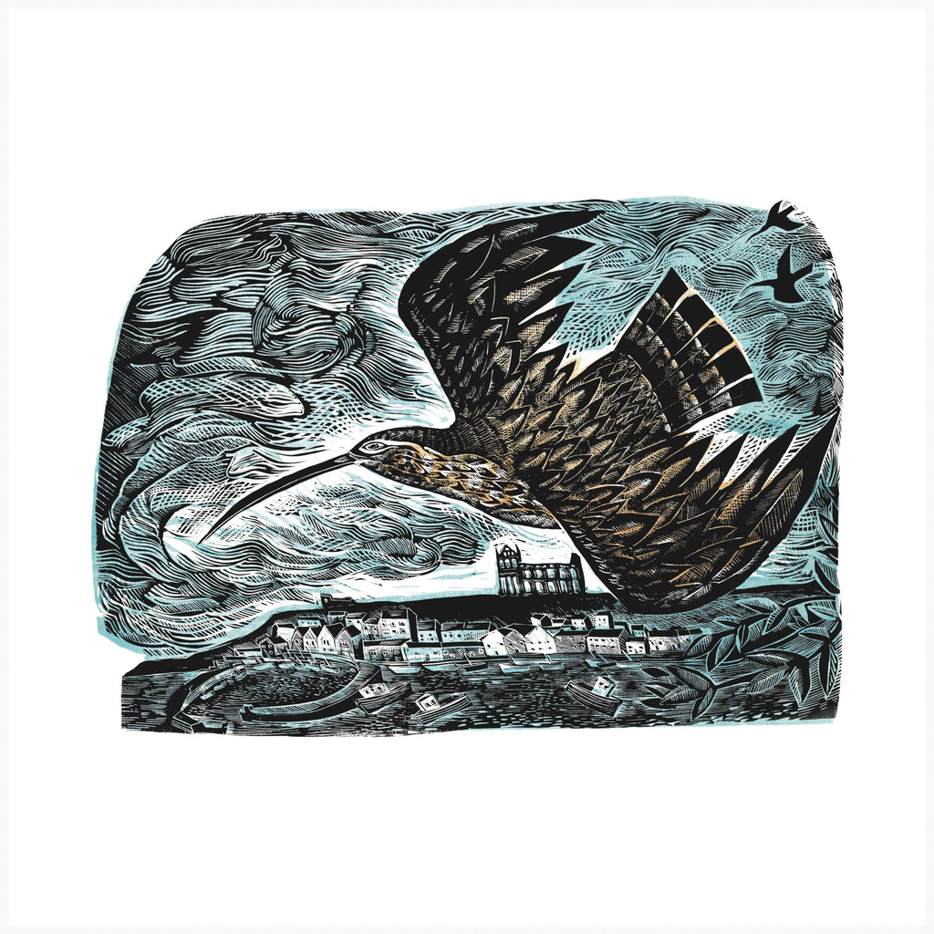 Curlew at Whitby, Linocut Print by Angela Harding