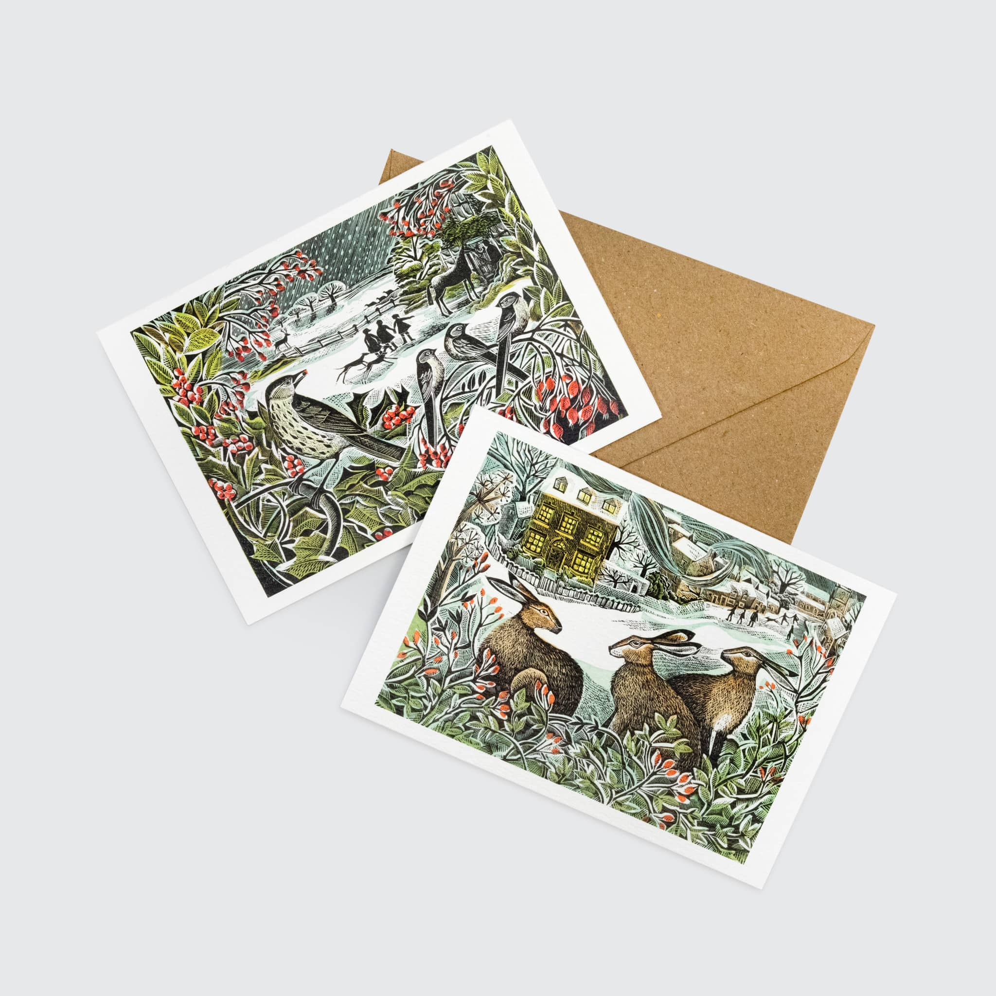 Angela Harding Holly Hedge and We Three Hares Notecard