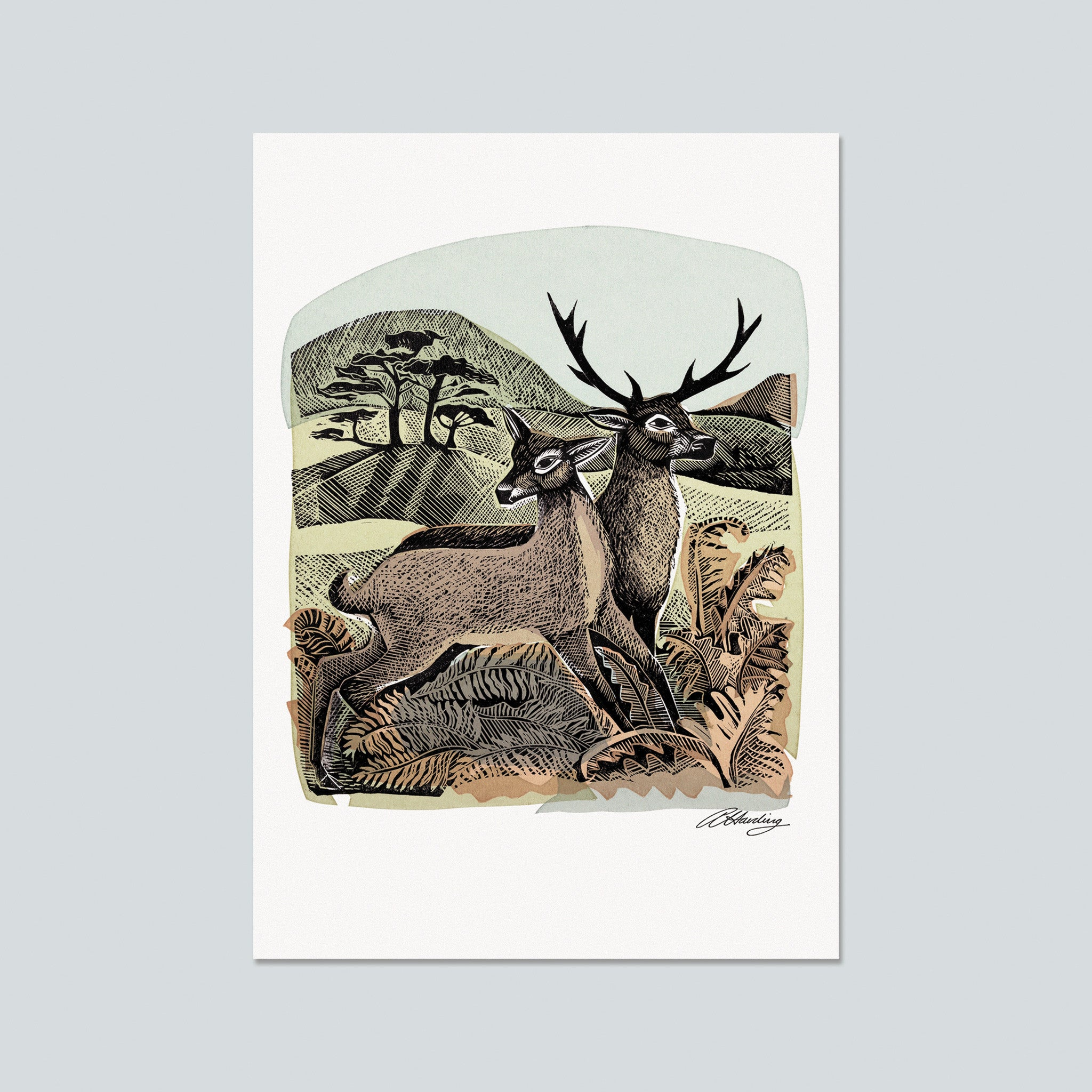 Deer with Autumn Bracken Postcard by Angela Harding