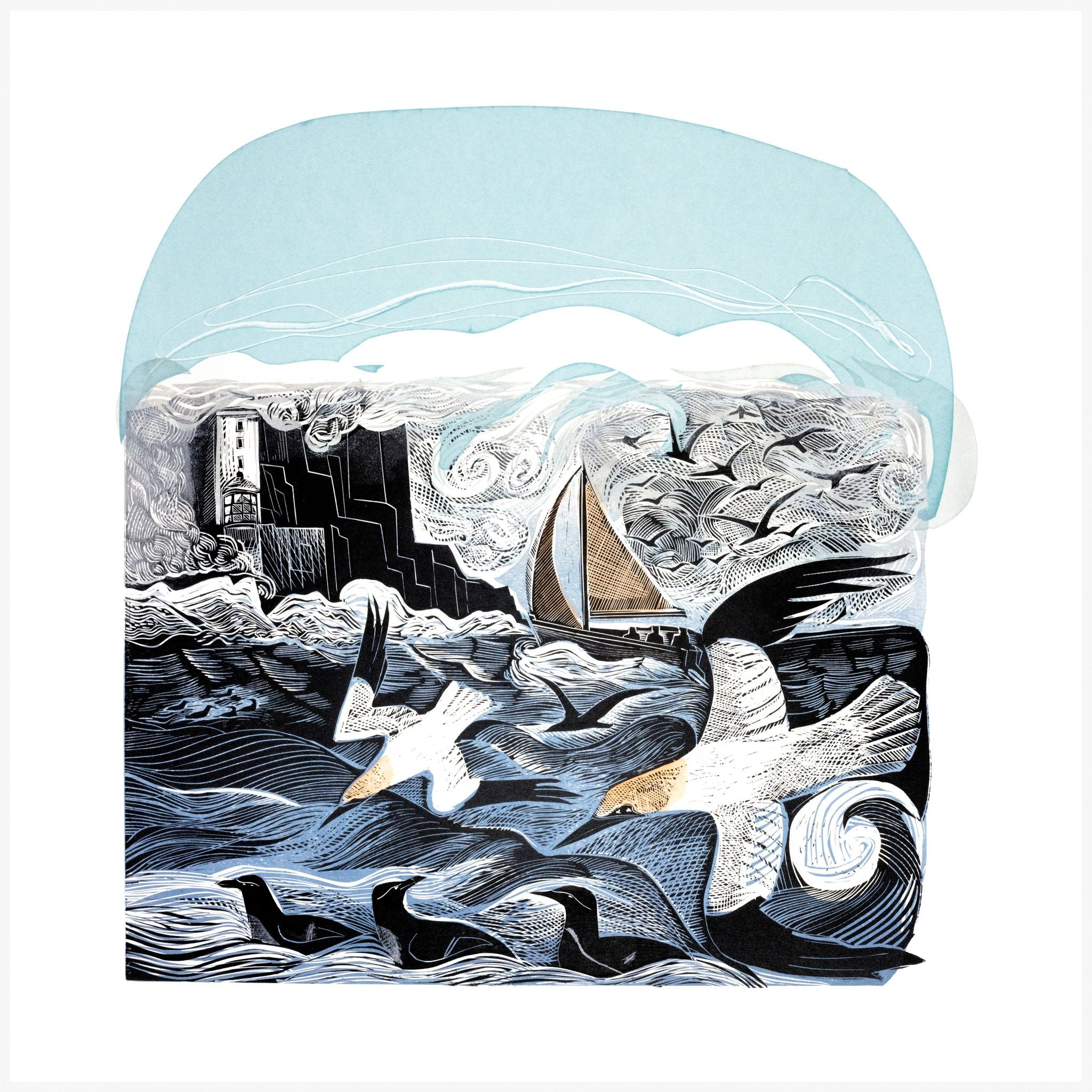Gannets at Rathlin Island, Linocut Print by Angela Harding