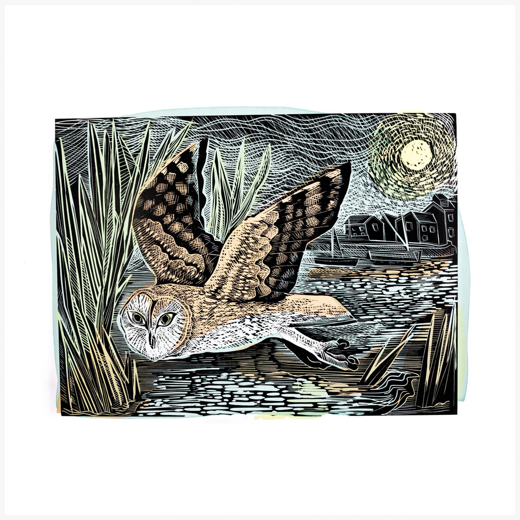 Marsh Owl linoprint by Angela Harding