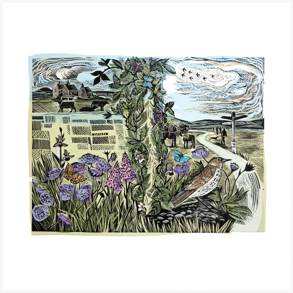 The Common, a linocut and silkscreen print by Angela Harding