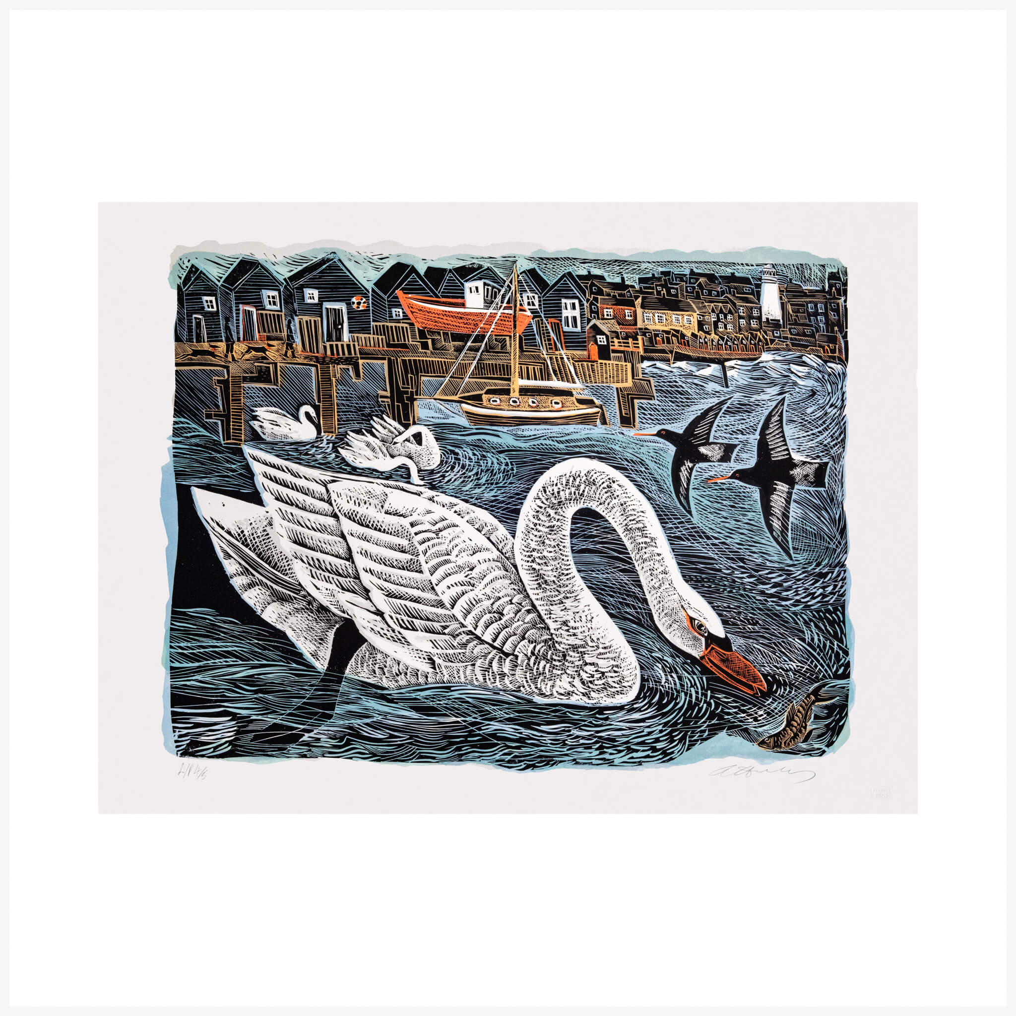 Southwold Swan Penfold Press Print by Angela Harding