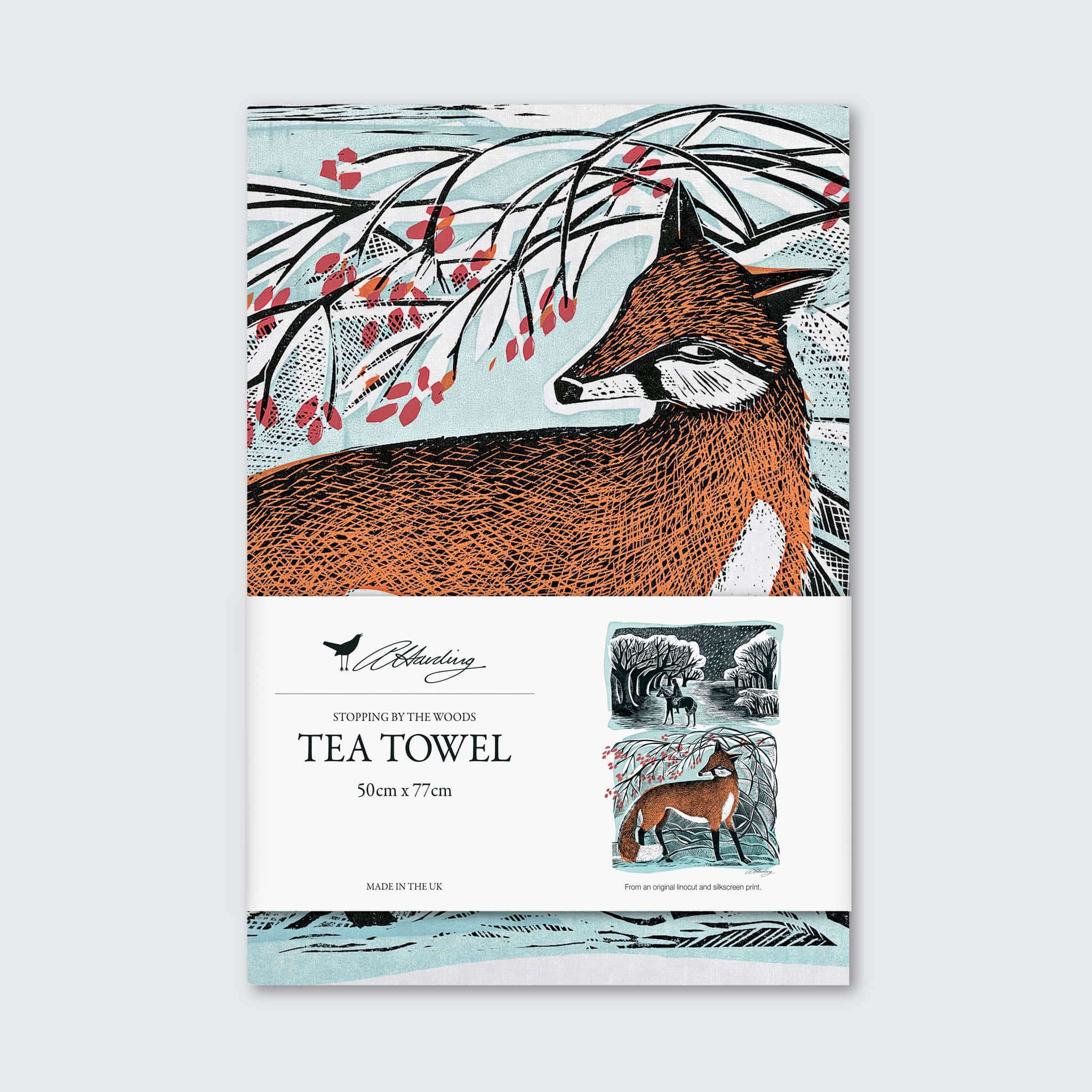 Stopping By The Woods Tea Towel by Angela Harding