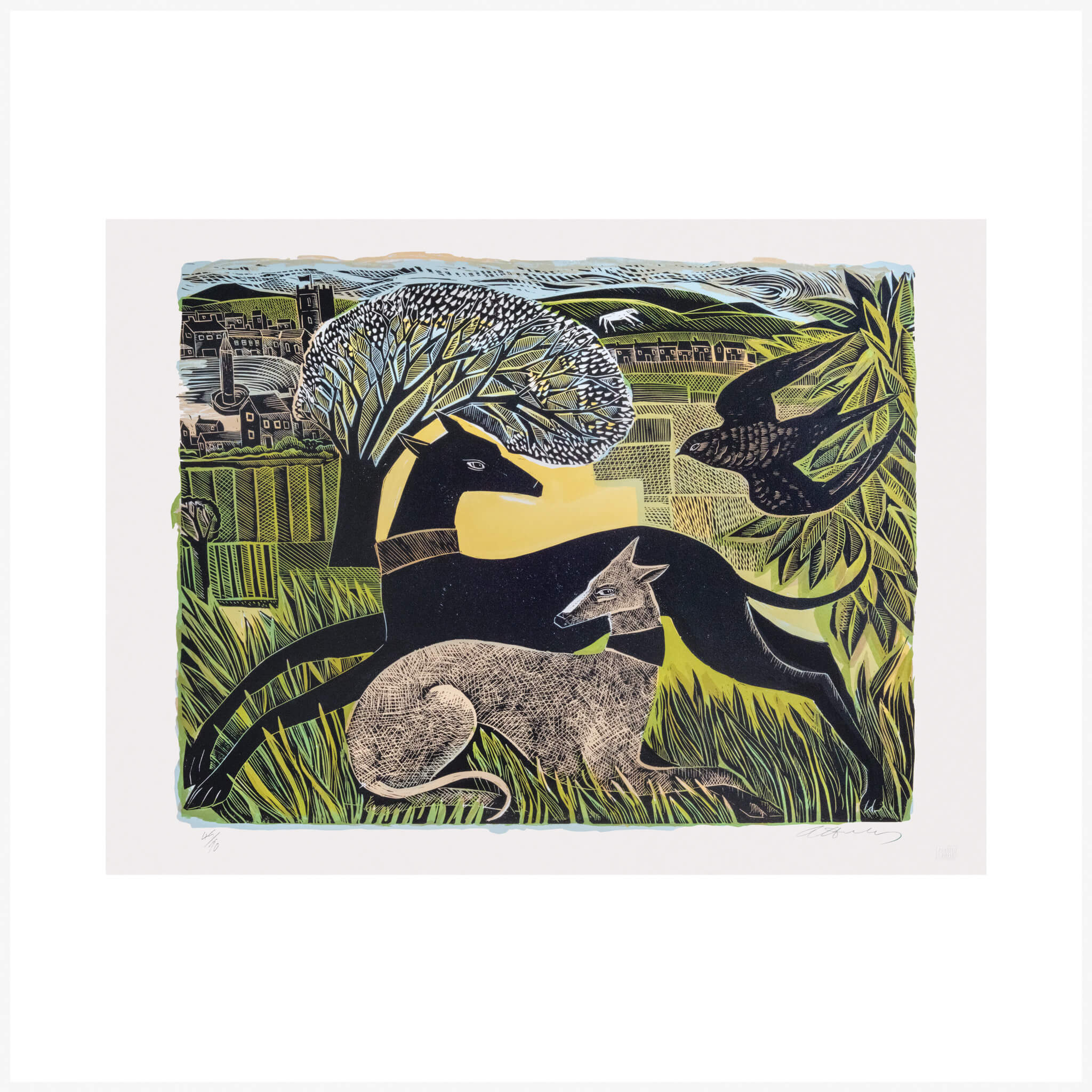 Angela Harding Two Yorkshire Whippets Penfold Press Print