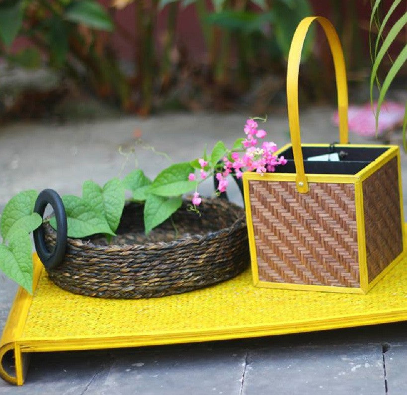 Bamboo Twin Tray with Basket & Holder
