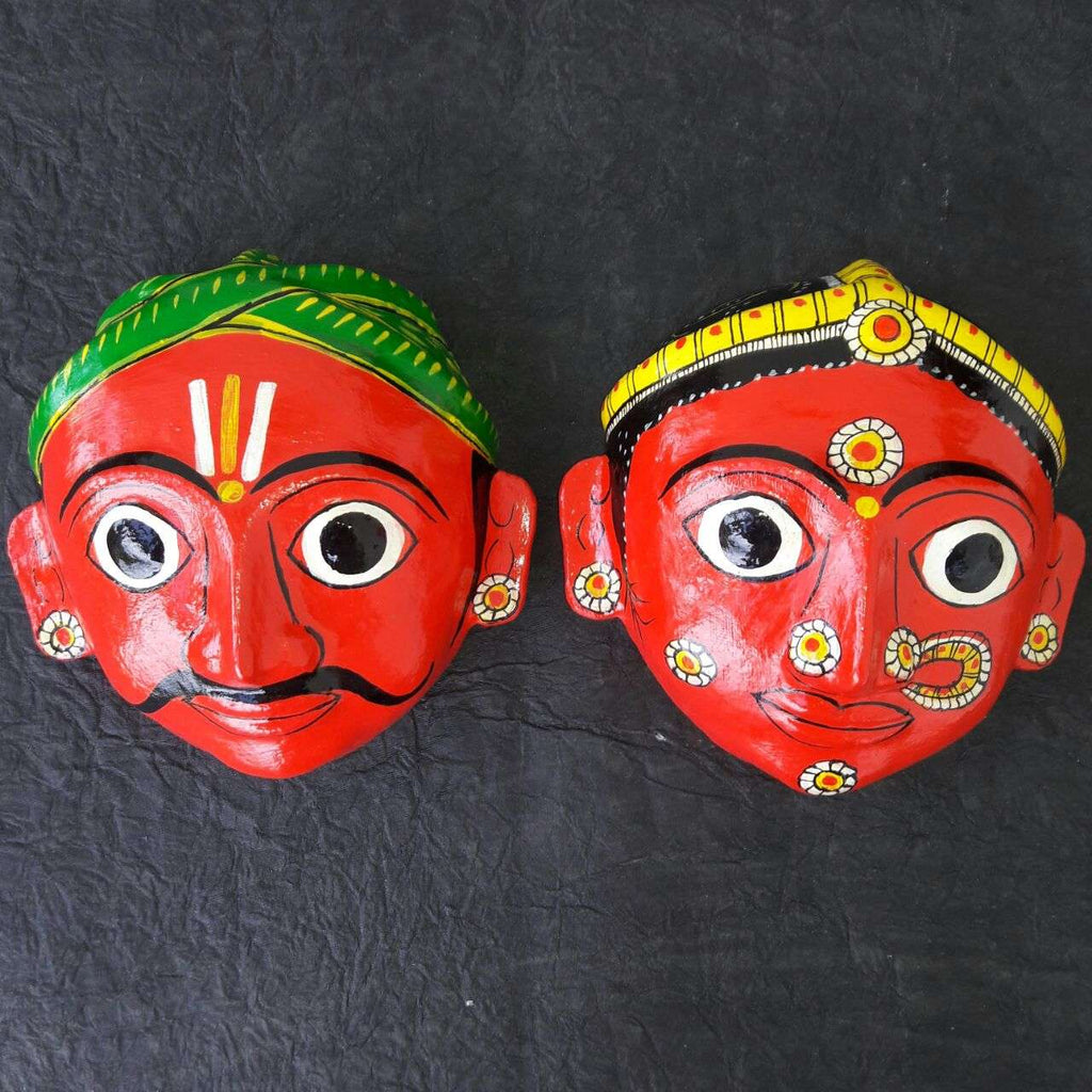 Man and Woman Cherial Mask (BIG Pair - Red)