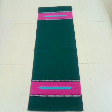 Black with Pink Border Organic Cotton Yoga Mat