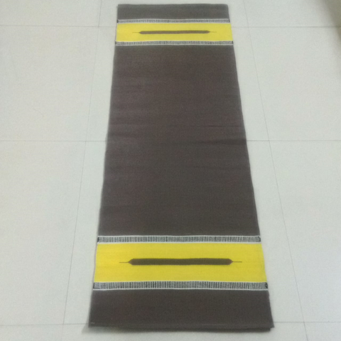 Black With Yellow Border Organic Cotton Yoga Mat