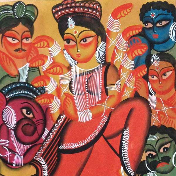Goddess Durga Kalighat Painting Heart For Art Online