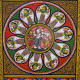 Ganesha with Shiv & Parvati coloured- Odisha Pattachitra on Canvas