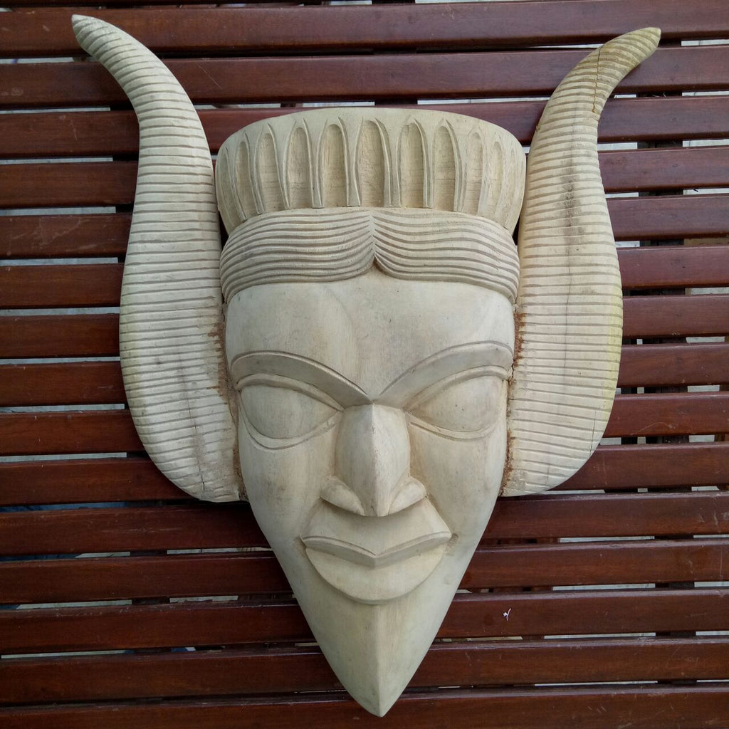 Wooden White Asura Mask - Big