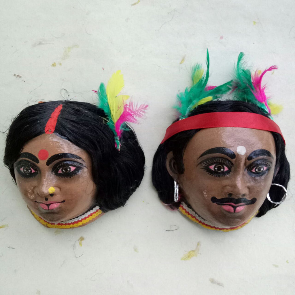 Kirat & Kiratin Chhau Mask pair - Small