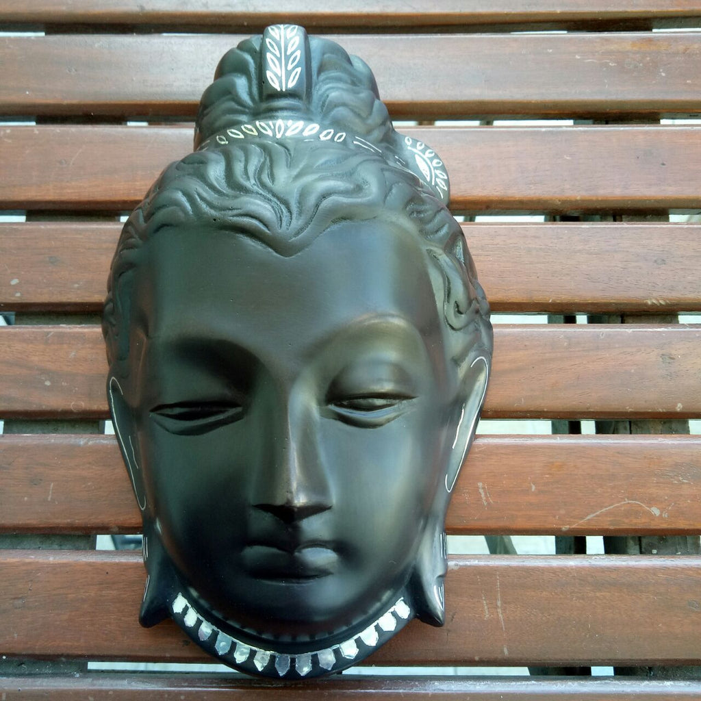 Silver Inlaid Lord Buddha Face-Large