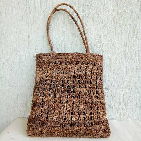 Banana Fibre V Crochet Bag Big