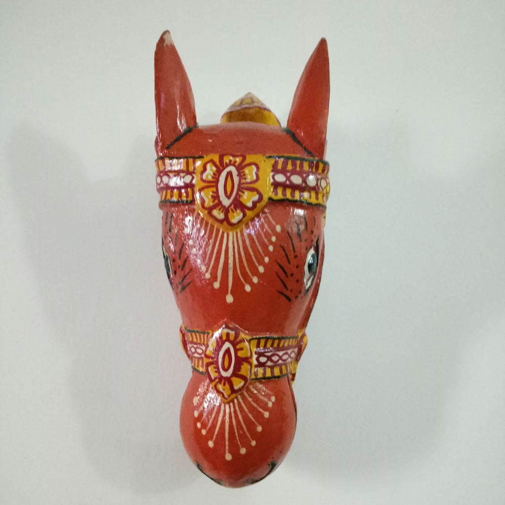 Wooden Orange Horse Mask