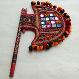 Embroidered Axe shape Handfan