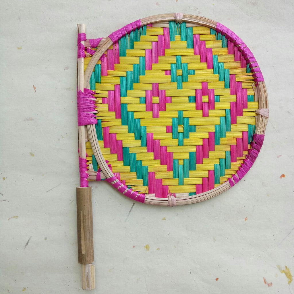 Bamboo Round Colored Handfan