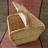 Oblong Lidded Cane Picnic Basket Cum Shopping Basket