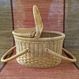 Oval Lidded Cane Picnic Basket Cum Shopping Basket