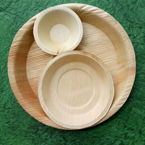 Palm Leaf Plate with Bowl (Set of 4)