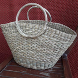 Boat Shape Handbag With Round Cane Handle