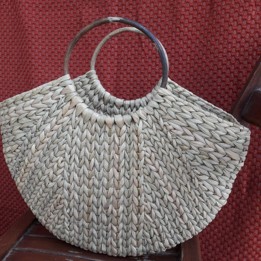 U-Shaped Kauna Hand Bag With Round Cane Handle