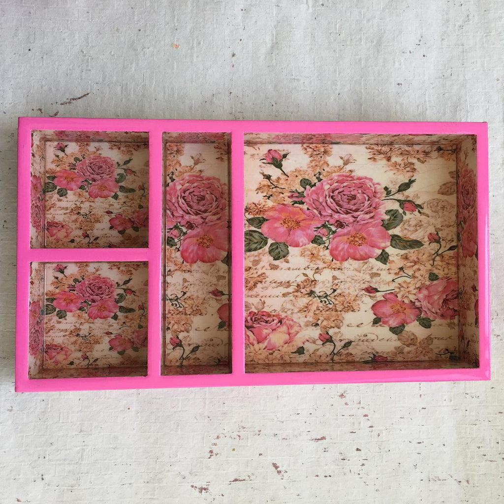 4 Sections Tea and Snack Pink Tray of MDF Board