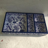 4 Sections Tea and Snack Blue Tray of MDF Board
