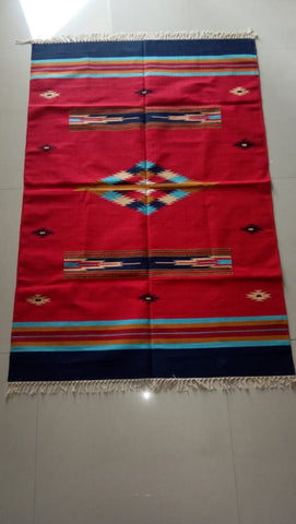 Multi Colored Hand woven Cotton Interlock Durrie