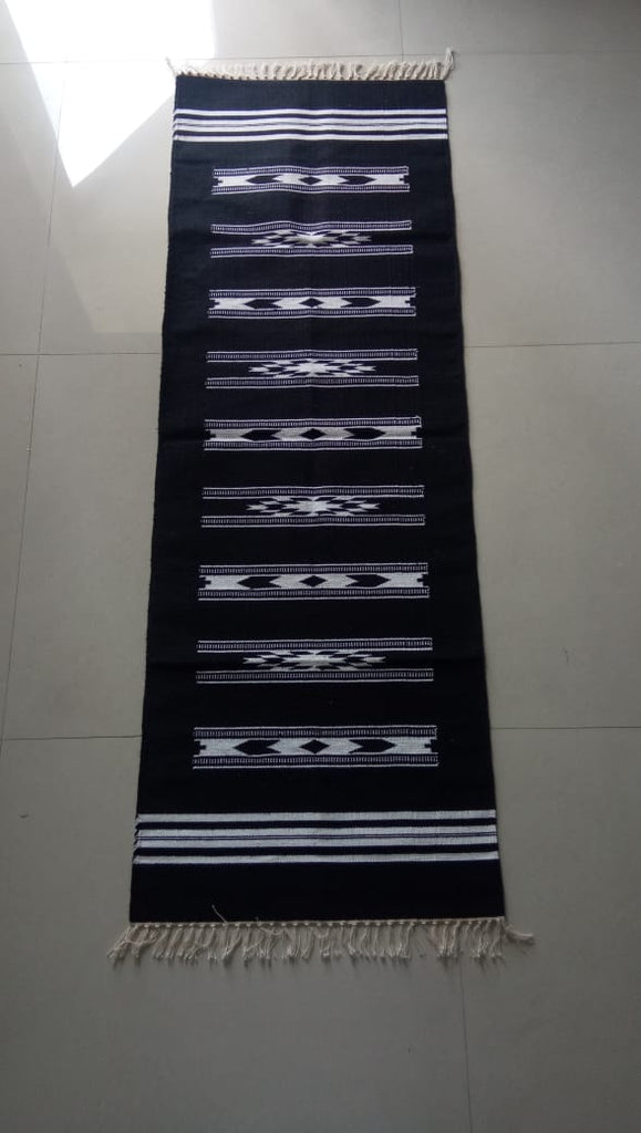 Black and White Warangal Hand woven Cotton Durrie