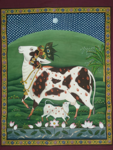 Cow and Her Calf Pichwai Painting