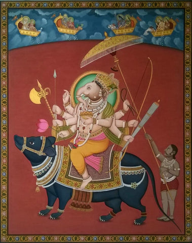 Ganesha on His Musika Pichwai Painting