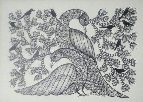 Two Peacocks and Birds