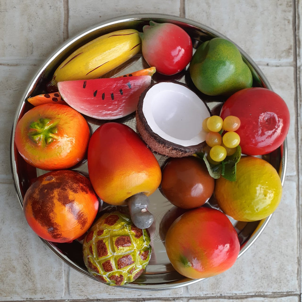 Wooden Fruits Set On Steel Plate